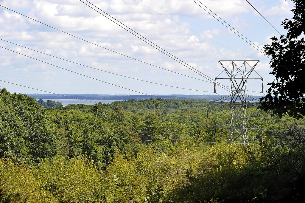 There is a view of eastern islands and land masses from a high point of the trail in Yarmouth. Most of the trail is on CMP property and rights of way.