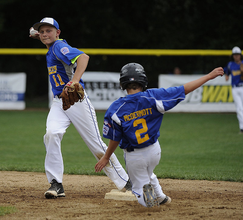Vermont's Griffin McDermott (2) forced out at second by Maine's Michael Simonds (11)  during a Sunday Vermont win over Maine at Breen Field in Bristol. Mike Orazzi/Special to the Press Herald