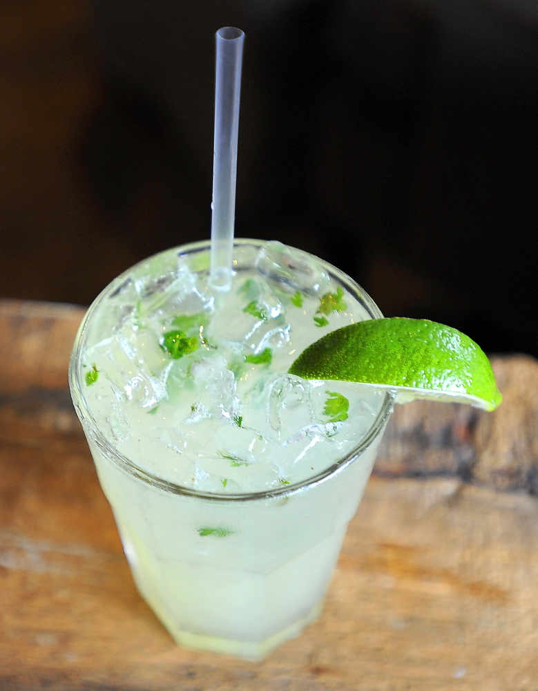 FREEPORT, ME - JULY 24: Food and atmosphere from Tuscan Grill in Freeport. This is the Mint/Jalapeno Margarita. (Gordon Chibroski/Staff Photographer)