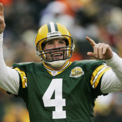 Brett Favre, seen reacting to a touchdown pass in 2007, will be inducted into the Pro Football Hall of Fame.