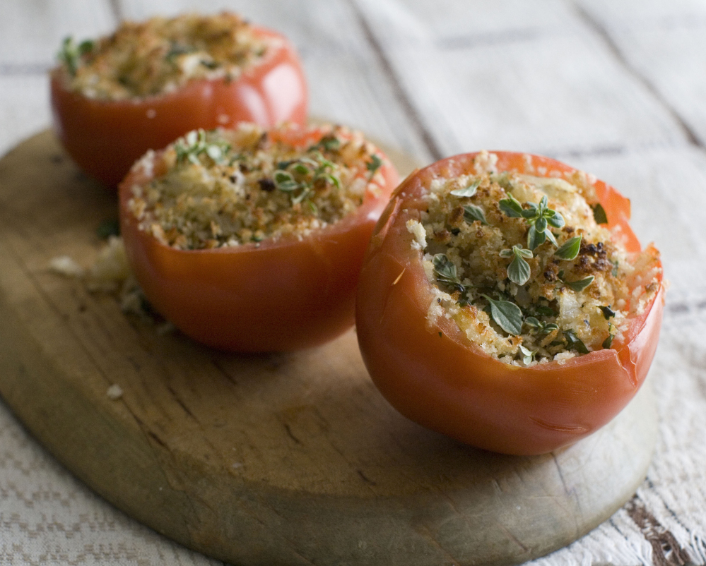 Monterey Jack and breadcrumbs fill these cheese-stuffed tomatoes.