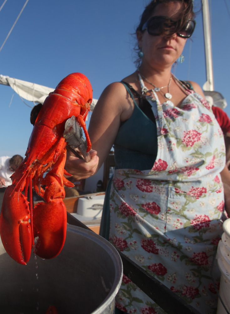 DIX ISLAND, ME Ð JULY 26: Reilly Harvey pulls a cooked lobster from a pot onboard her boat Mainstay Saturday, July 26, 2014 in the harbor between Dix Island and High Island, Maine. Harvey runs Mainstay Provisions, selling lobster dinners, and baked good to boaters from her 1960s North Haven launch. (Photo by Joel Page/Staff Photographer)