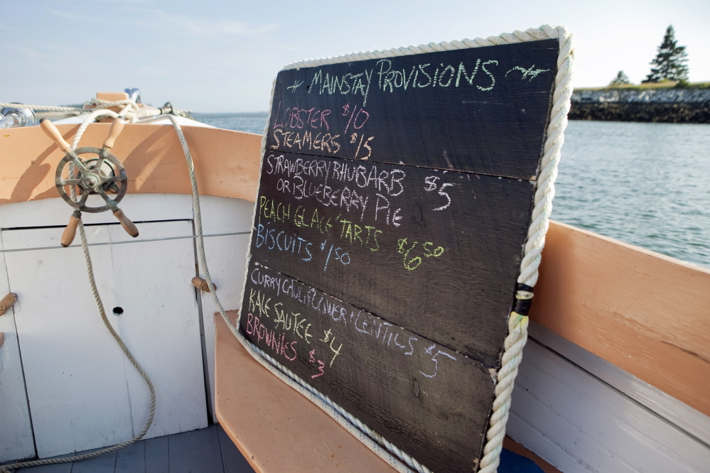 "The menu aboard the Mainstay. Harvey's under a little gentle pressure to raise her prices. ""I really struggle with that,"" Harvey said. ""Inflation hasn't hit my brain yet. I would never spend $5 on a piece of pie."""