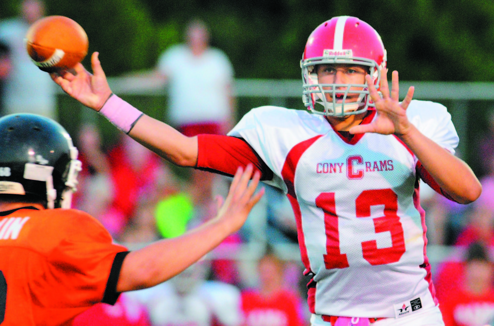 Ben Lucas throws a pass as quarterback for Cony High School. The University of Maine has announced he won't be playing for them in the fall.