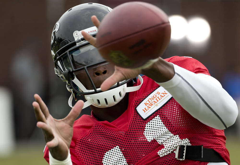 Julio Jones of the Atlanta Falcons was leading the NFL in receptions last season before suffering a broken foot in Week 5 against the New York Jets. Jones has been held out of training-camp practices every other day as a precaution.