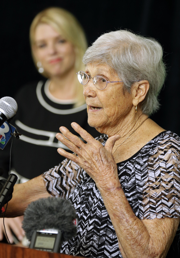 Ovell Krell, sister of George Owen Smith, speaks about her brother during a news conference Thursday at the University of South Florida in Tampa, Fla.