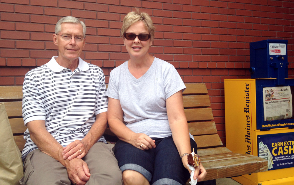 Dave and Cindy Bogle, of Johnston, Iowa, attend the Iowa State Fair in Des Moines. Dave, who says he serves as a military policeman in the late 1960s, thinks the United States should be out of Iraq - it's a no win situation.