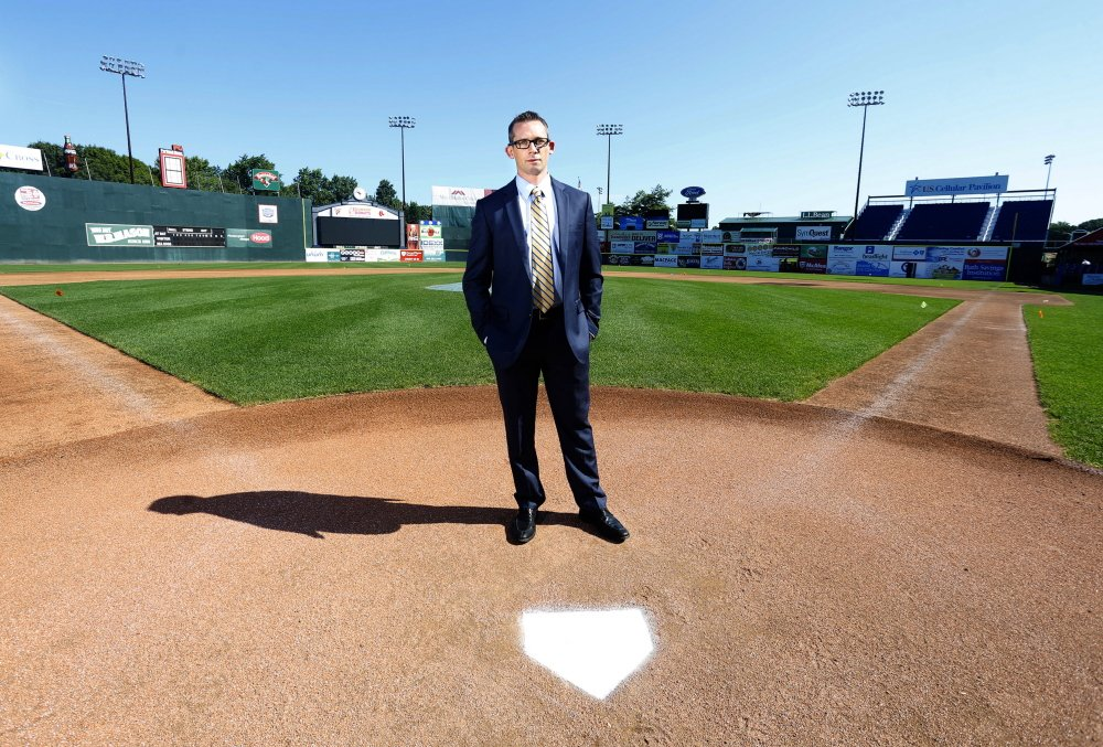 John Nathans, a former catcher who played the 2003 season with the Sea Dogs and who is now a trial lawyer, visits Hadlock Field in Portland. The head injuries he sustained in a brawl during a game in 2007 ended his professional baseball career.