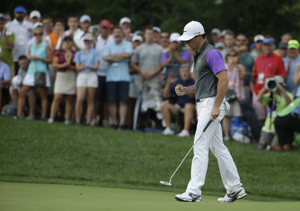 Rory McIlroy celebrates his eagle on the 10th hole.