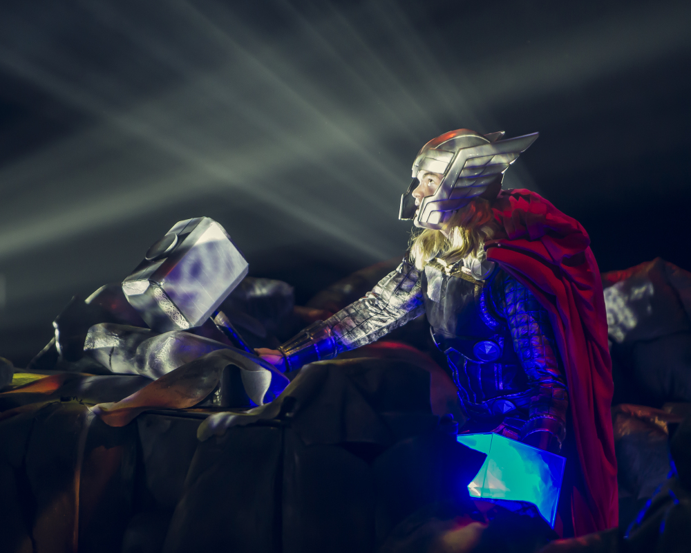 "A performer dressed as the Marvel character Thor appears in the new live arena show called ""Marvel Universe Live!"""