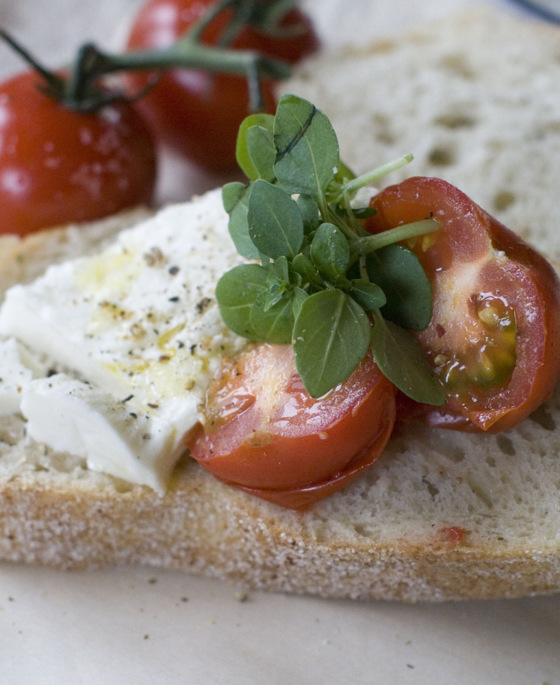 Grilled tomatoes and burrata on bread may become your go-to summer appetizer.