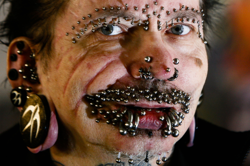 German Rolf Buchholz was refused entry to Dubai because of security concerns. The German man has 453 piercings, including many in his face and genitals, according to Guinness World Records.