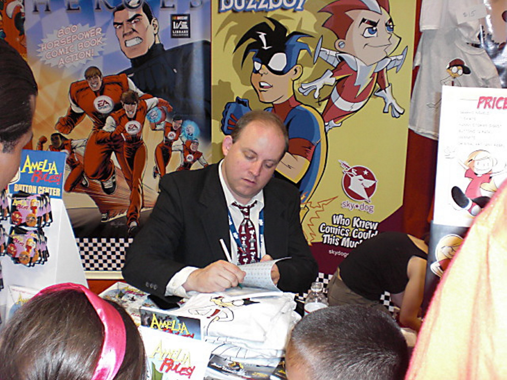 """Jimmy Gownley, the award winning creator of the Amelia Rules! series of graphic novels, will visit with young readers at The Samuel L. Cohen Children's Library at Portland Public Library next Thursday to talk about  his latest book, """"The Dumbest Idea Ever!"""". Photo courtesy Mary Peverada"""