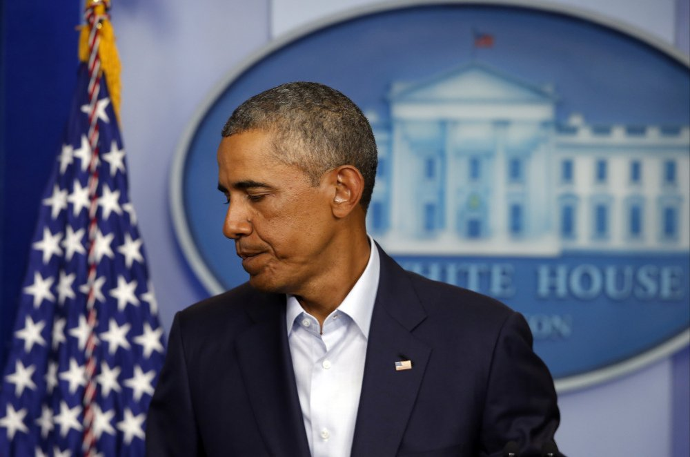 President Barack Obama leaves the podium in the James Brady Press Briefing Room at the White House in Washington, Monday.