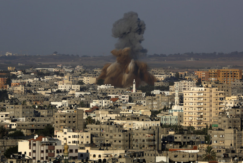 Smoke and debris rise after an Israeli strike hit Gaza City on Tuesday. The Israeli military said it carried out a series of airstrikes across the Gaza Strip in response to renewed rocket fire. The burst of violence broke a cease-fire and endangered negotiations aimed at ending the month-long war between Israel and Hamas.