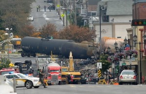 Crude oil tankers from the Montreal, Maine & Atlantic Railways are seen in the heart of downtown Lac-Megantic, Quebec, where the runaway train exploded on July 9, 2013.