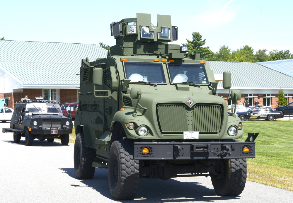 The Southern Maine Regional Swat Team obtained this military vehicle from the Department of Homeland Security. This vehicle and a smaller one maintained by the Cumberland County Sheriff's Office were deployed during a training exercise in Gorham on Tuesday.