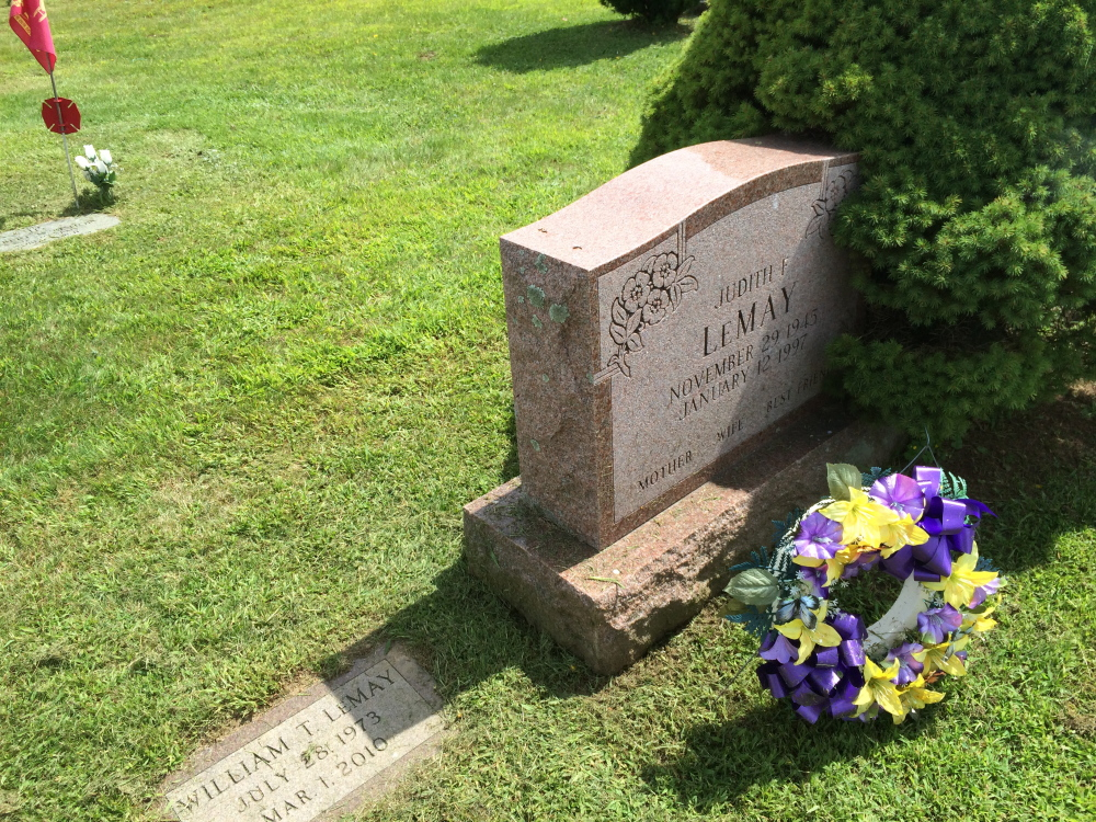The headstones of two relatives of Kenneth Field top a plot he bought at Sunset View Cemetery in 1988. Before that purchase, the plot was sold twice to members of the Bishop family, who also have relatives buried in the plot.