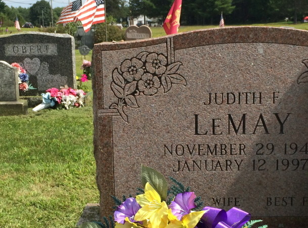 The gravestone of Judith LeMay stands in Sunset View Cemetery in Norridgewock. Two families own the plot.
