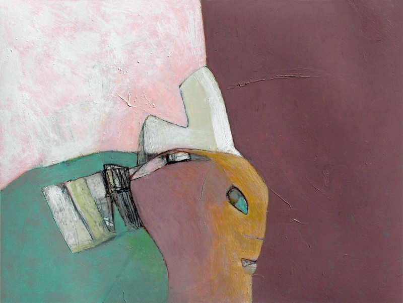 "David Estey, ""Woman with Comb,"" acrylic and graphite."