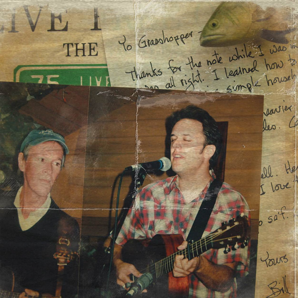A photo of Mark Erelli, right, on stage with Bill Morrissey overlays a note from Morrissey to Erelli.