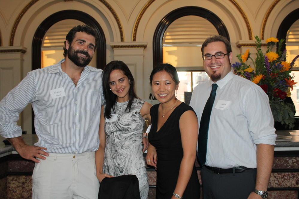 Nicholas Sabbath of Portland with his wife, Daniela Sabbath, principal of Portland School of Ballet, Aaron Hoffman of Portland, right, and Hoffman's fiancée Melissa Lin, Portland Ballet board president.
