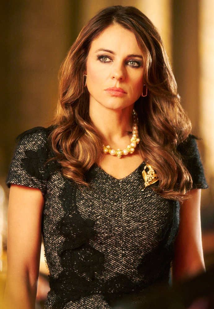 """Elizabeth Hurley plays the fictional Queen Helena, the queen of England, in a new TV drama series """"The Royals,"""" which is filming and being set in London."""