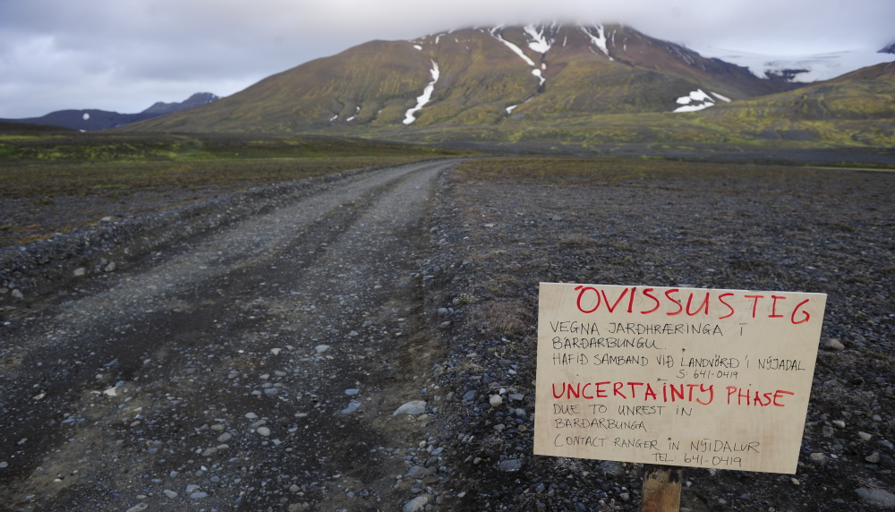A warning sign blocks the road to Bardarbunga volcano, about 12.5 miles away, in the northwest region of the Vatnajokull glacier.