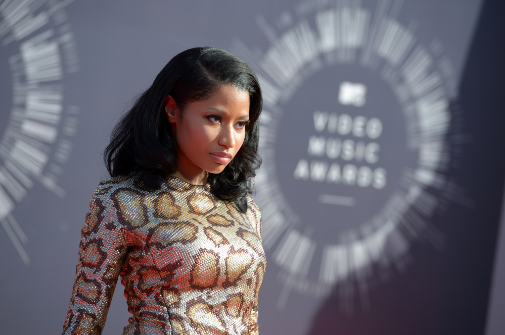 Nicki Minaj arrives at the MTV Video Music Awards at The Forum on Sunday in Inglewood, Calif.