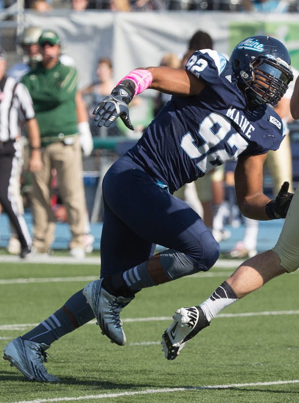 Trevor Bates of Westbrook knew about the No. 9 tradition at the University of Maine, wanted to be the No. 9 this season instead of last year's No. 92, and was given the jersey by Michael Cole, who wore it last season.