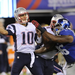 New England Patriots quarterback Jimmy Garoppolo throws during the first half of Thursday night's game against the New York Giants. The Giants won to finish unbeaten in the preseason.