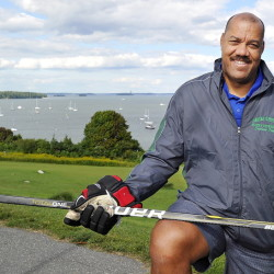Graeme Townshend of Saco, a former Maine Mariner shown Thursday on Portland's Eastern Prom, is leading the effort to build an Olympic ice hockey team for Jamaica.
