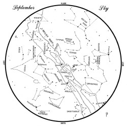 This chart represents the sky as it appears over Maine during September. The stars are shown as they appear at 10:30 p.m. early in the month, at 9:30 p.m. at midmonth and at 8:30 p.m. at month's end. No planets are visible at chart times. To use the map, hold it vertically and turn it so that the direction you are facing is at the bottom.