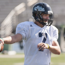 Dan Collins wasn't handed the football as the University of Maine starting quarterback until Thursday night, just two days before kickoff, but he's planning to make sure Coach Jack Cosgrove made the correct decision. Kevin Bennett/Special to the Press Herald