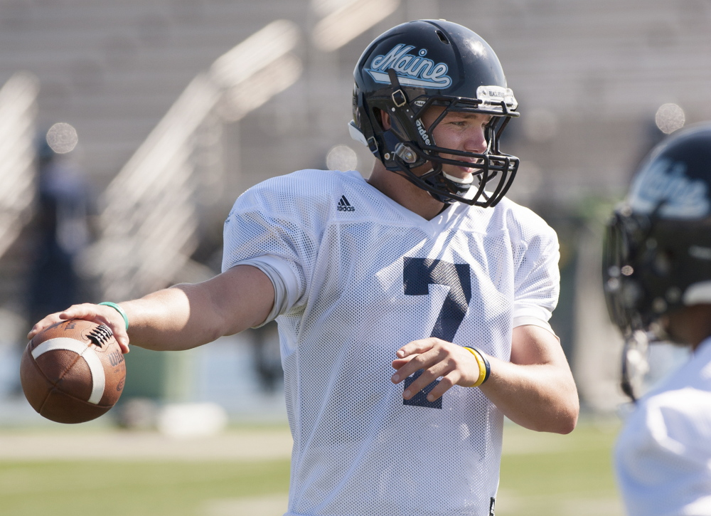 Black Bears quarterback Dan Collins was injured in Saturday's 19-7 loss at Stony Brook. He may not be able to play in this week's game against Albany. File Photo/Kevin Bennett
