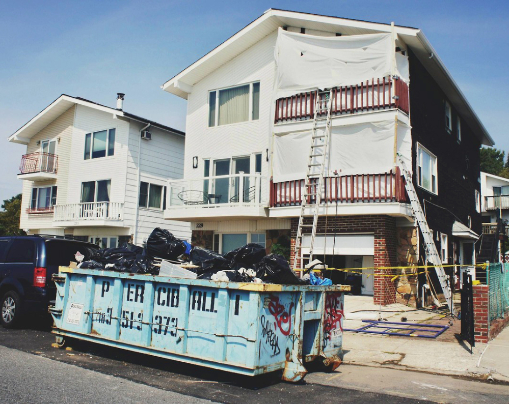 A home in the Staten Island borough of New York that was damaged in Superstorm Sandy undergoes repair through the Build it Back program, which was rebooted in April.