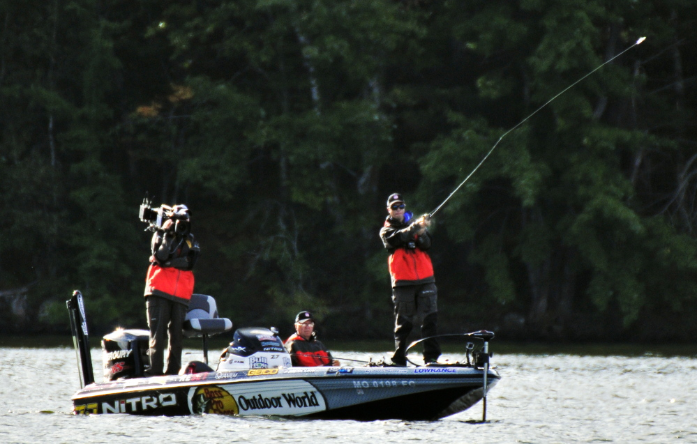 "Brent Ehrler casts Saturday during a ""Major League Fishing"" event on China Lake in China."