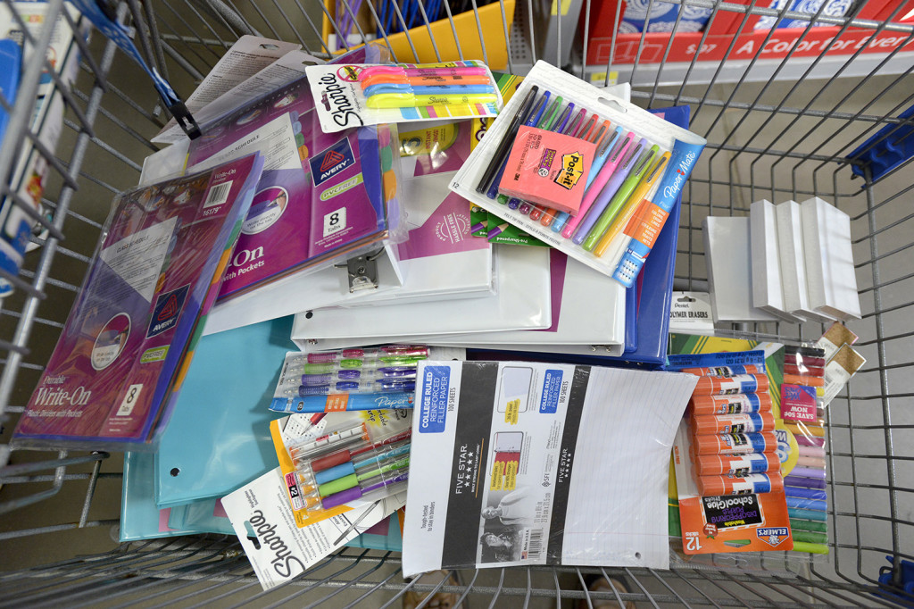 A shopping cart full of school supplies at Walmart in Scarborough.