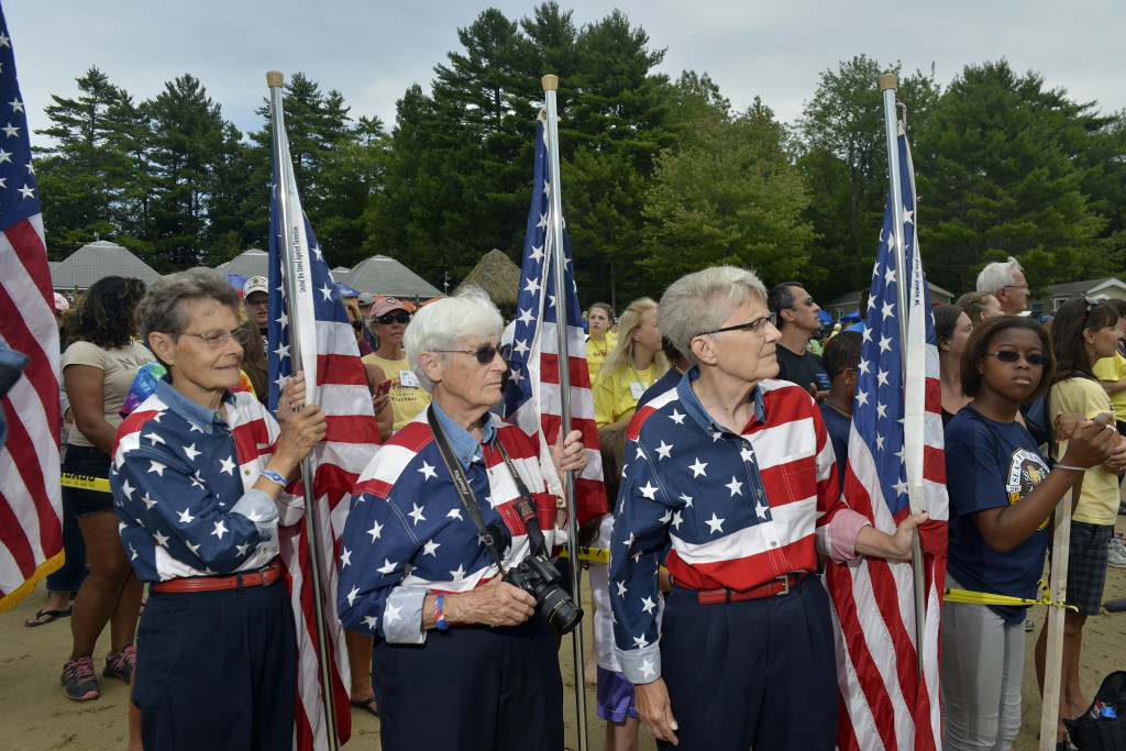 Elaine Greene, right, one of the three Freeport Flag Ladies, has been hospitalized for a week.