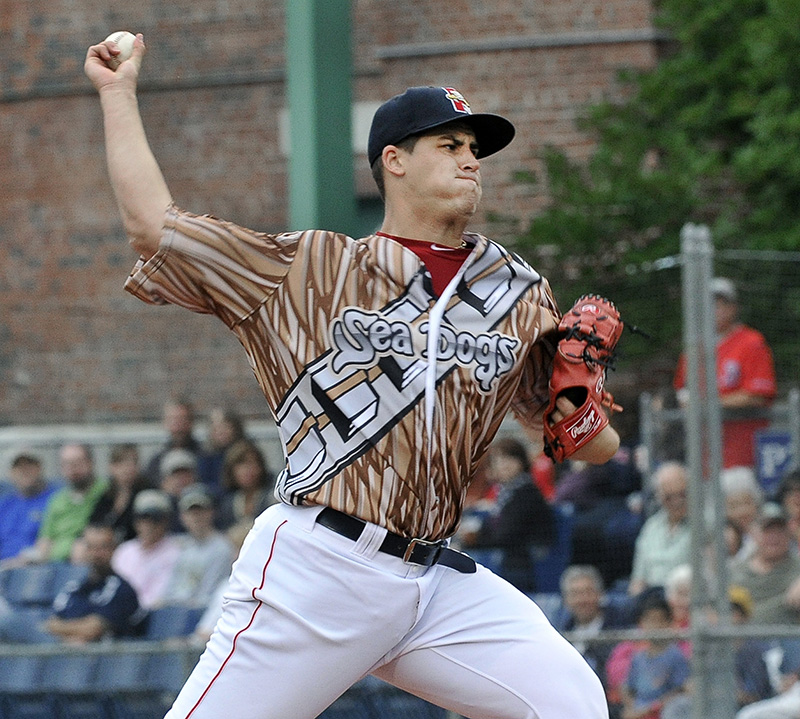 Portland's starting pitcher Keith Couch delivers the ball as the Portland Sea Dogs host the Richmond Flying Squirrels and celebrate Star Wars Night at Hadlock Field in Portland. John Patriquin/Staff Photographer