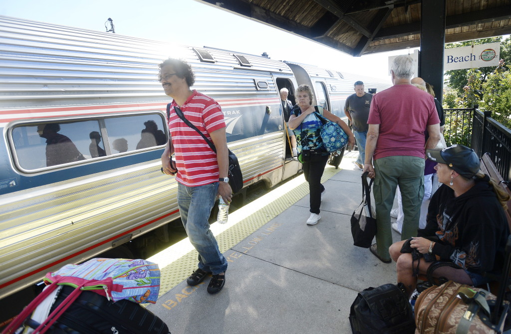 The Downeaster makes a stop in Old Orchard Beach on Friday. Ridership is up on the Downeaster, with ticket revenues rising 6.2 percent in fiscal 2014. Shawn Patrick Ouellette/Staff Photographer