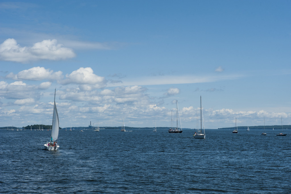 Boats sail through the Portland Harbor before the first gun at the MS Harborfest Regatta on Saturday. Logan Werlinger/Staff Photographer