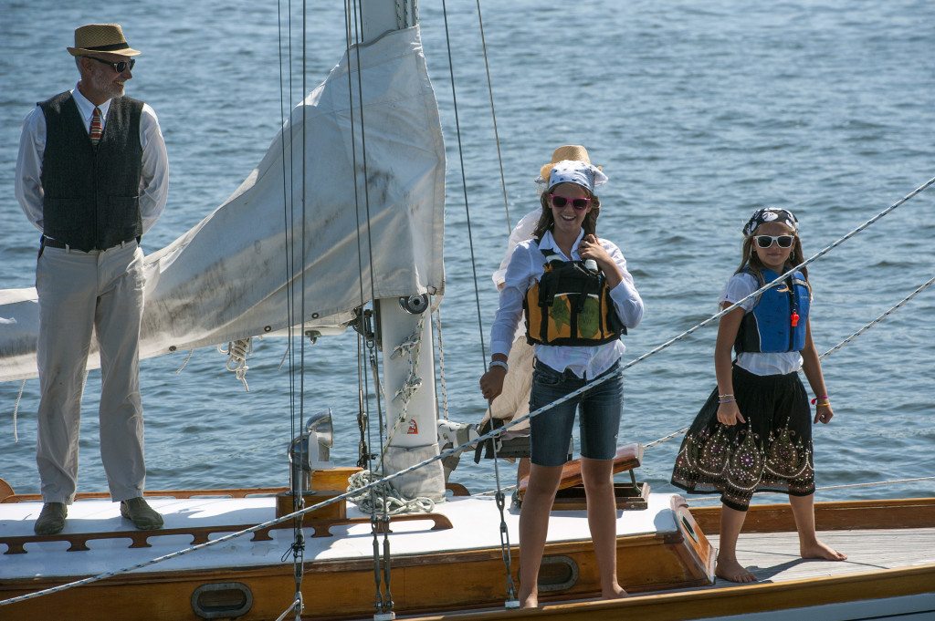 Sailors aboard the Sailboat Neva out of Peaks Island dress as pirates during the Parade of Sail before the MS Harborfest Regatta on Saturday. Photo by Logan Werlinger/Staff Photographer