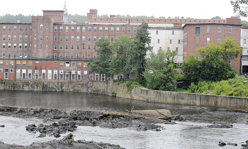 This rear view of Pepperell Center on the Saco River shows the many condos that will be developed on the left with manufacturing and retail space on the right.