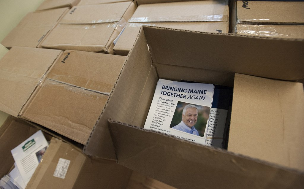 Boxes of campaign materials are stacked at the Democratic headquarters in Bangor.
