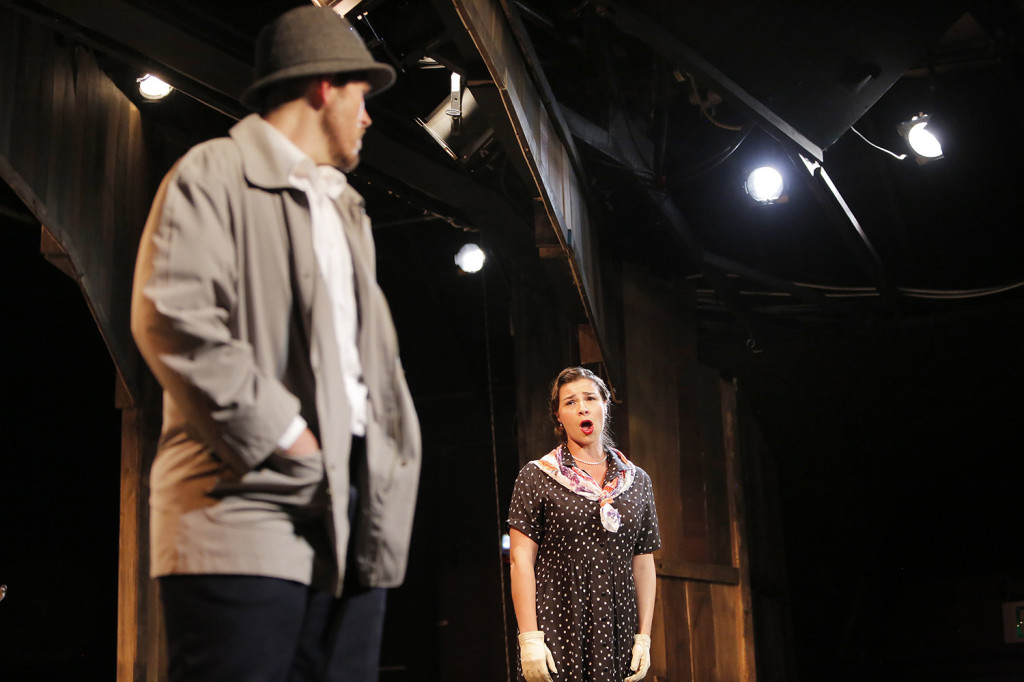 "Donata Cucinotta, playing the role of Annie McGuire, tells ferryman Charlie Scott, played by Jason Martin, that he should stop fighting the effort to build a bridge to Deer Isle in this scene from a dress rehearsal of ""The Last Ferryman"" at the Stonington Opera House."