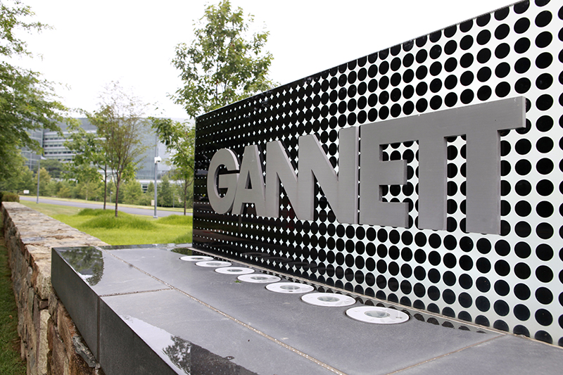In this file photo, the sign for Gannett headquarters is displayed in McLean, Va. Gannett Co. The Associated Press