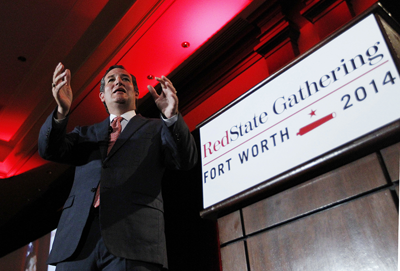 U.S. Sen. Ted Cruz, R-Texas, delivers a speech to 2014 Red State Gathering attendees on Aug. 8 in Fort Worth, Texas. The Associated Press