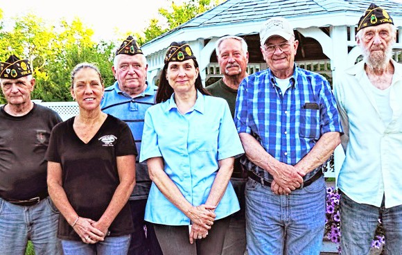 York American Legion Post 56 members, from left: Jim Fitzpatrick, Kandace Minihane, Bill Hallisey, Cmdr. Robin Greene, Chuck Arboch, Pete Doe and Robert Seeley. Photo by Bill Moore Photography