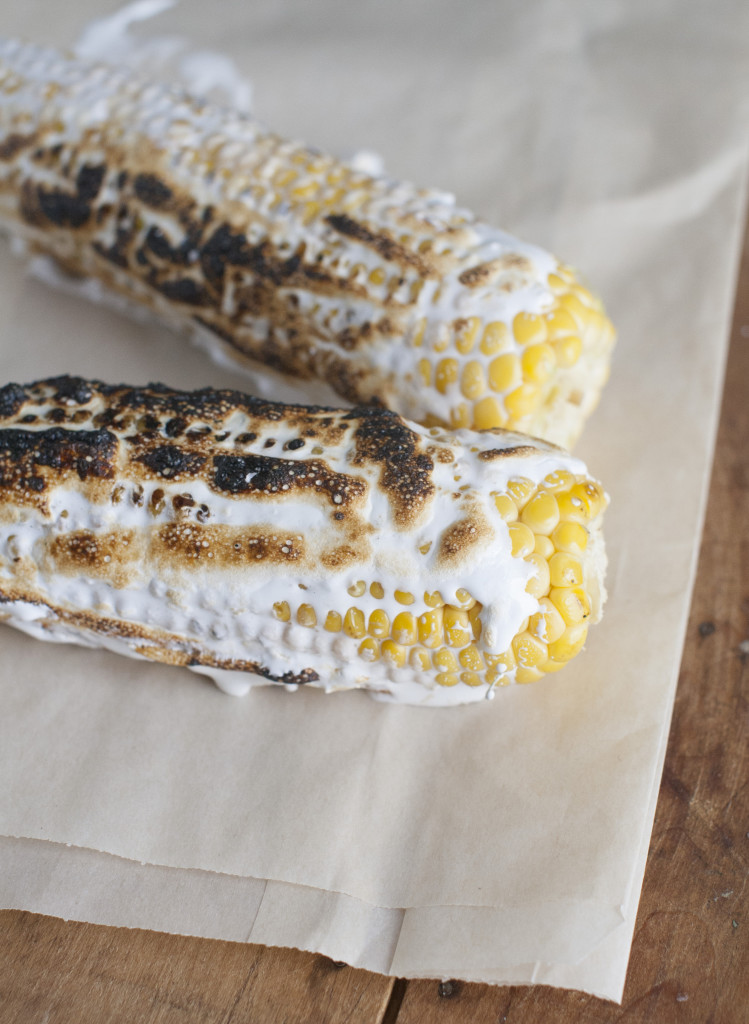 Corn on the cob with toasted marshmallow.
